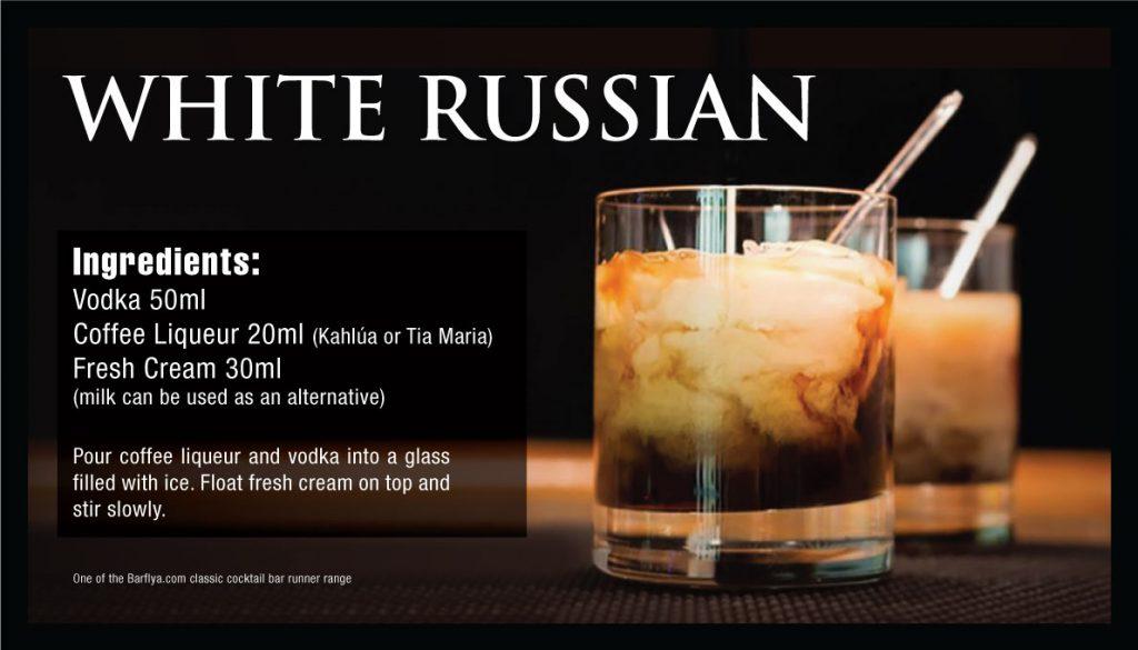 White Russian cocktail Bar runner